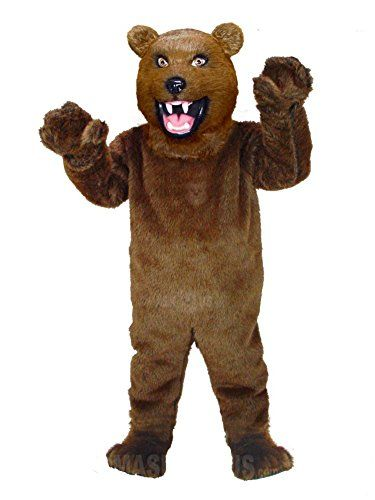 Buy Grizzly Bear Mascot Costume  **    With a fierce growl, this Grizzly bear strikes fear in the hearts of his opponents! Grizzly Mascot Costume has black fur with a brown muzzle and a frightening roar on his face.** **    Comes complete with head, body, hands and feet.** **    The head is constructed from molded foam and latex for superior detail and durability. Includes a screened vision panel, comfort ventilation panels, and a built-in cooling fan.** **    One size fits most adults, from…