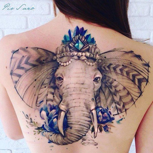 Blue elephant tattoo. Large back piece created by Pis Saro