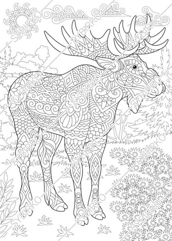 Moose Deer In Forest Coloring Page Animal Coloring Book For Etsy Animal Coloring Books Animal Coloring Pages Coloring Pages