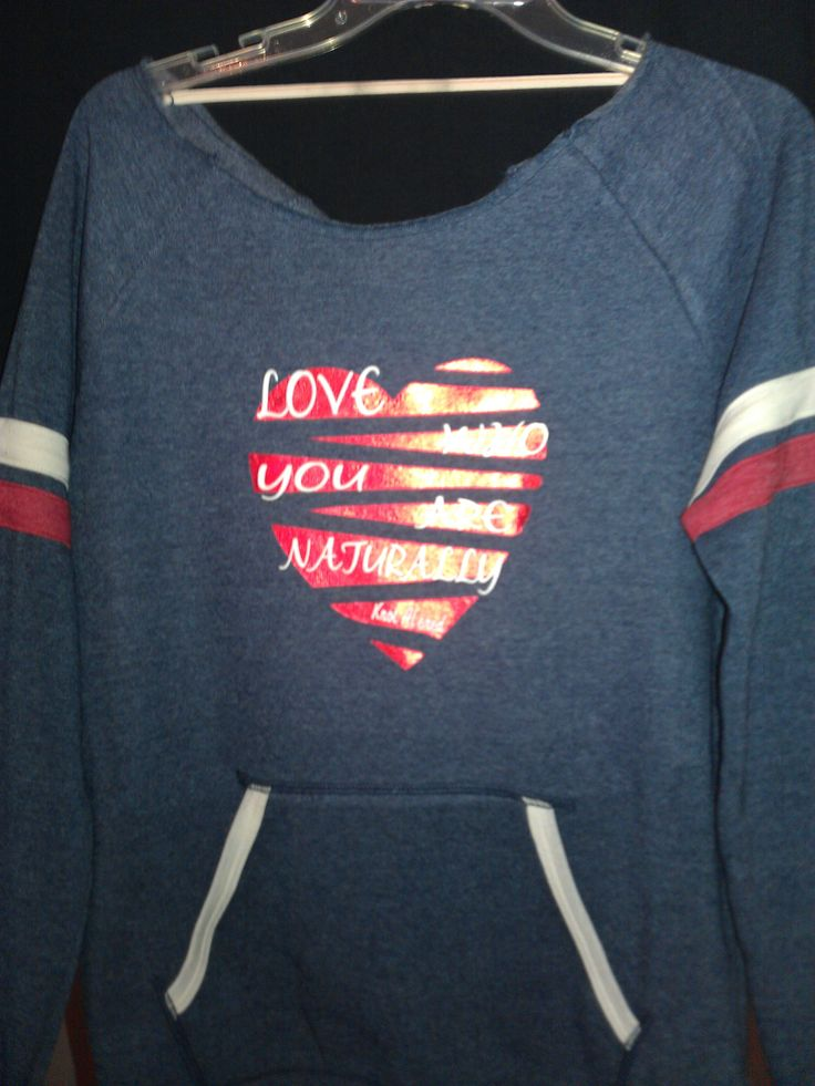 Off the shoulder sweat shirt- Navy, Red and white. Made with mettallic ink. Shirt Available in other colors