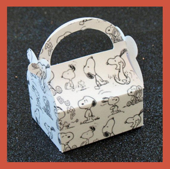 Snoopy Party Supplies Snoopy Birthday Favor Boxes. $1.35, via Etsy.