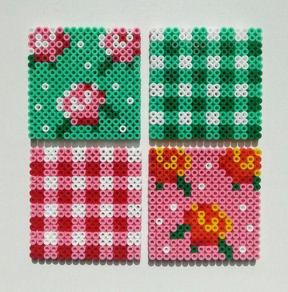 """Coasters """"Roses"""" in roos en groen van NiteOwl op DaWanda.com"""