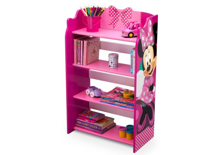 Delta Children Minnie Mouse Bookshelf Left View with Props a2a
