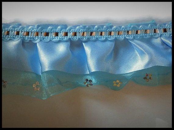 Dentelle, volant turquoise à sequins 3 couches 45 mm - mercerie - couture - embellissement - costume vénitien.
