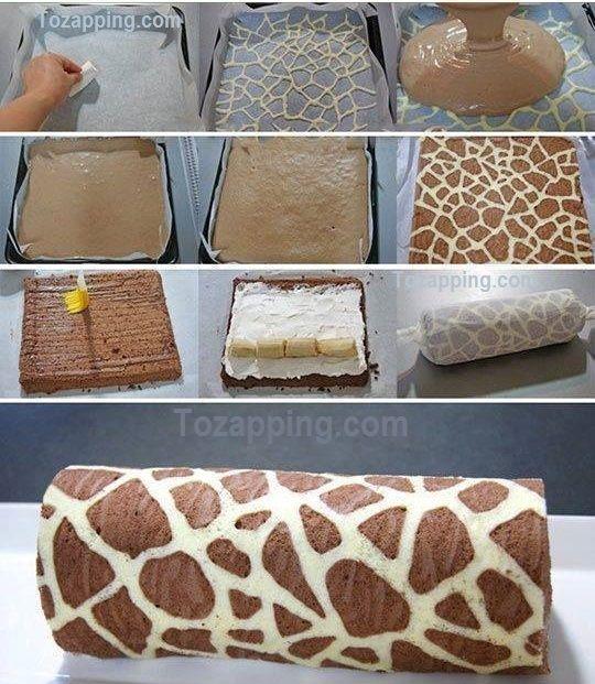 Cómo Hacer Brazo de gitano jirafa. ¡Prepara una delicioso¡ brazo de gitano jirafa.Un montón de gente piensa pasteles creativos como este son difíciles.Brazo