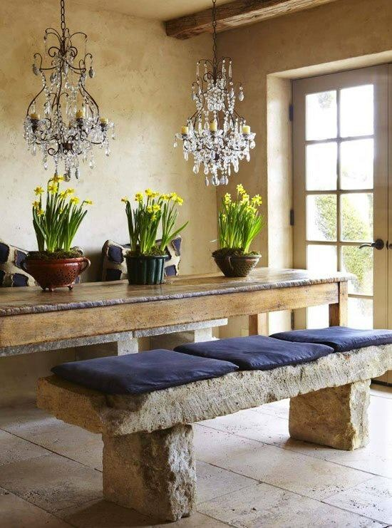 47 Cool And Airy Rustic Dining Room Designs With Natural Stone Wall Wooden Beams Table Bar Stool Chandelier Green