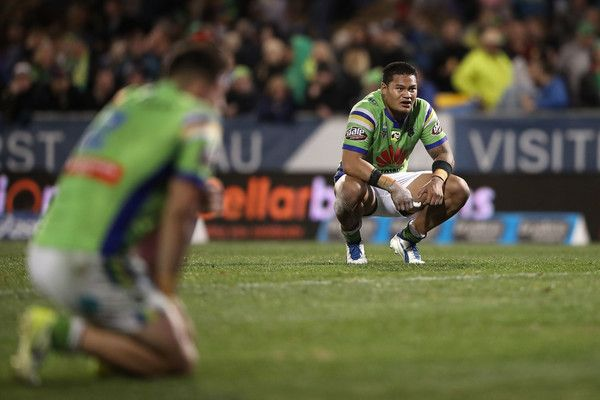 Joseph Leilua of the Raiders looks dejected after defeat during the round 14 NRL match between the Penrith Panthers and the Canberra Raiders at Carrington Park on June 10, 2017 in Bathurst, Australia.