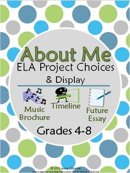 "Back-to-School ""About Me"" ELA Project Choices & Bulletin Board/Wall Display: Includes timeline, music brochure, future essay: Grades 4-8"
