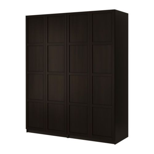 PAX Wardrobe with 4 doors - Fevik black-brown/frosted glass - IKEA