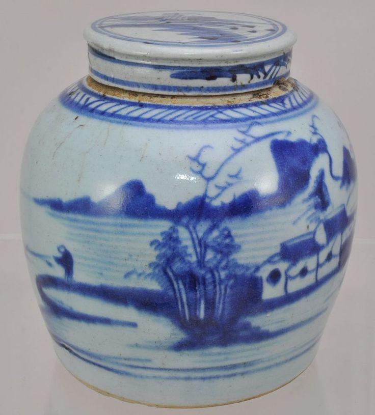 canton chinese export porcelain blue and white ginger jar. Black Bedroom Furniture Sets. Home Design Ideas