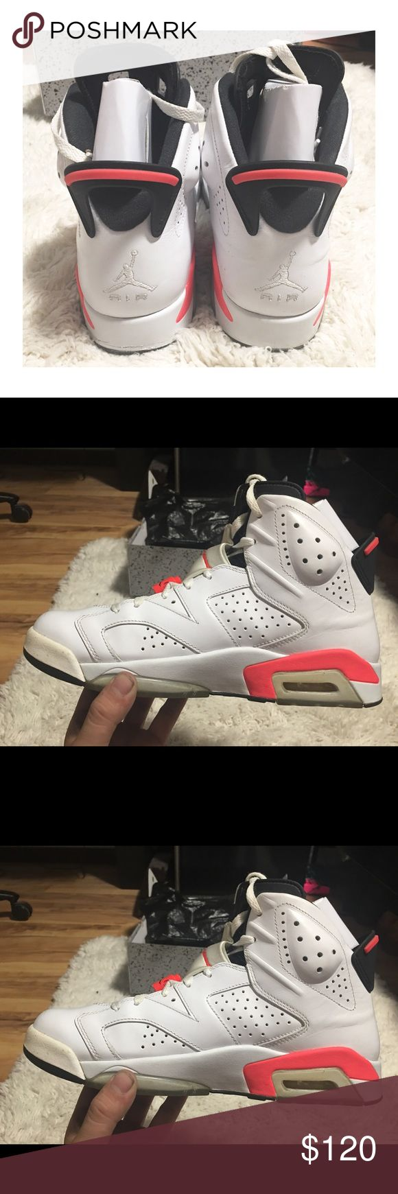 Air Jordan Retro 6's White I'm selling these Jordan's for my fiancé. He doesn't wear them anymore and has kept them in great condition, with box and tissue!  • No scuffs, stains, tears  • Like New condition  • Authentic Jordan 6's • Box, Tissue, rag on box Air Jordan Shoes Sneakers