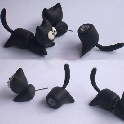Clinging Cute Running Black Cat Two-Part Earrings from Noirlu on Storenvy