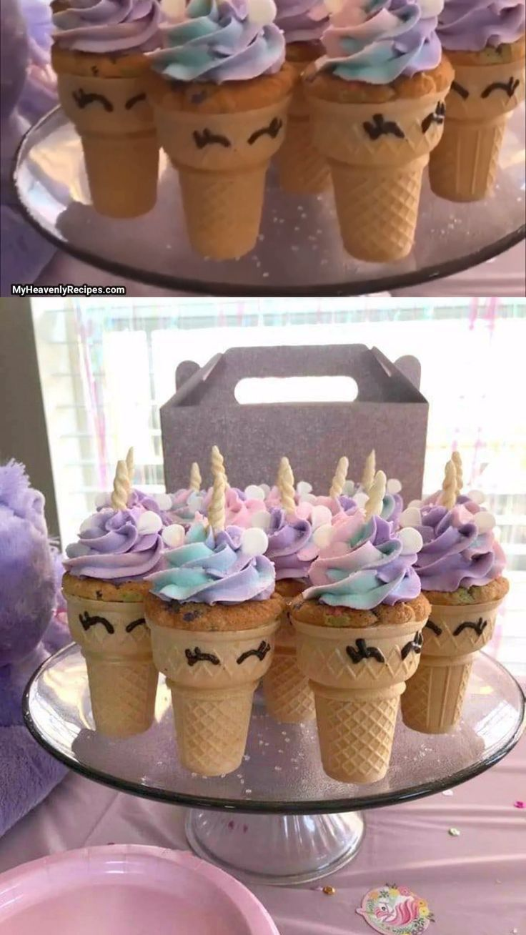 Unicorn Cupcake Cones Bake Cupcakes Inside An Ice Cream Cone