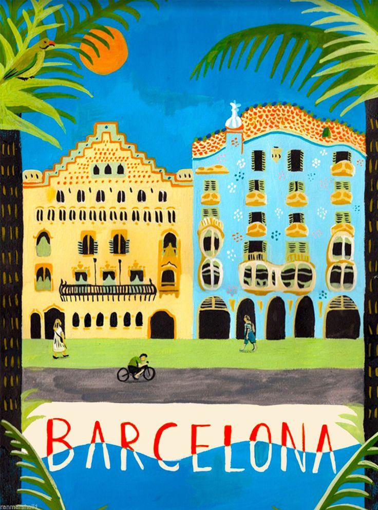 Barcelona Spain Spanish European Europe Vintage Travel Advertisement Art Poster | eBay