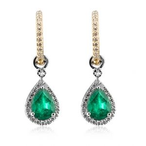 Cercei cu smaralde si diamante C390