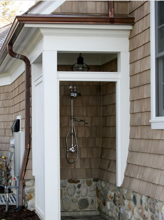 Outdoor Shower Stone Foundation Onion Cape Cod Lantern