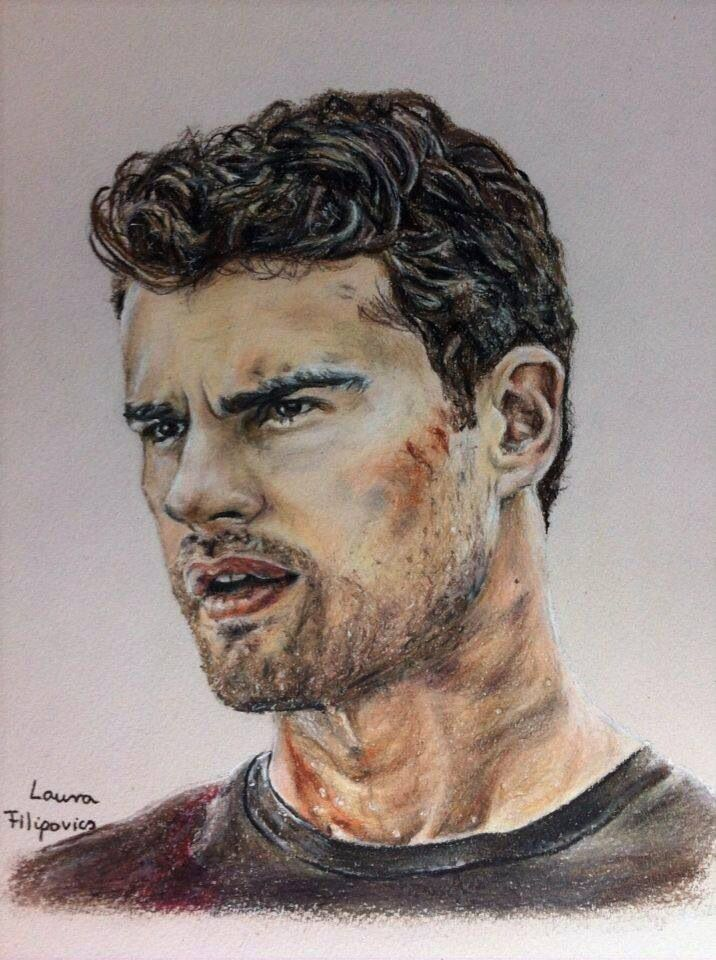 Colored pencil drawing of Four (Tobias) from the Divergent series by Laura Filipovics