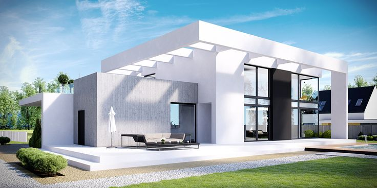 HomeKoncept 30 to duży, nowoczesny dom, którego efektowna bryła skrywa w sobie bardzo funkcjonalne wnętrze. Wyjątkowa pergola z białych belek okala dom, nadając mu wyjątkowy charakter.