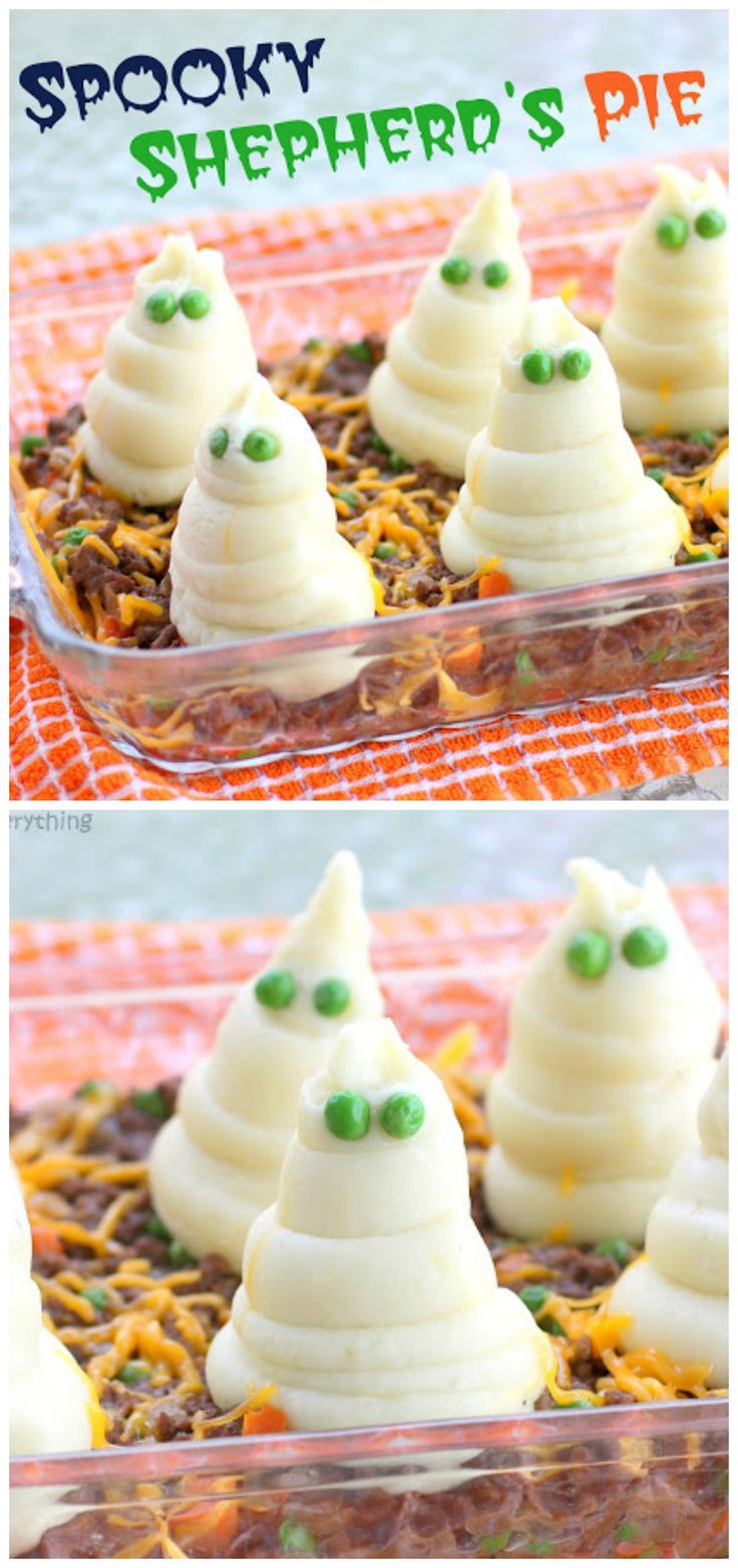 Spooky Shepherd's Pie - A savory dish with mashed potatoes ghosts. Perfect for Halloween.