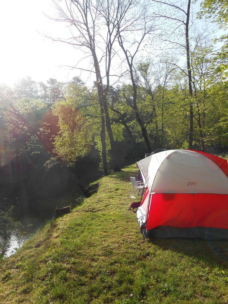 Camping on the Upper Iowa River near Decorah, Iowa.
