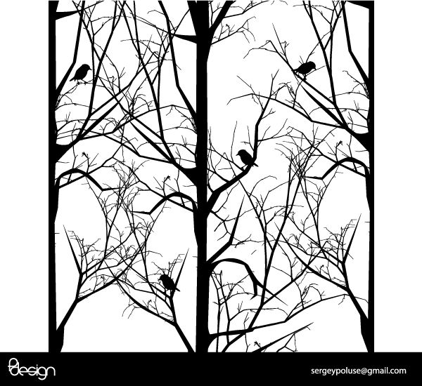 Free Vector Tree with Birds Free Vector | Silhouettes Tree ...