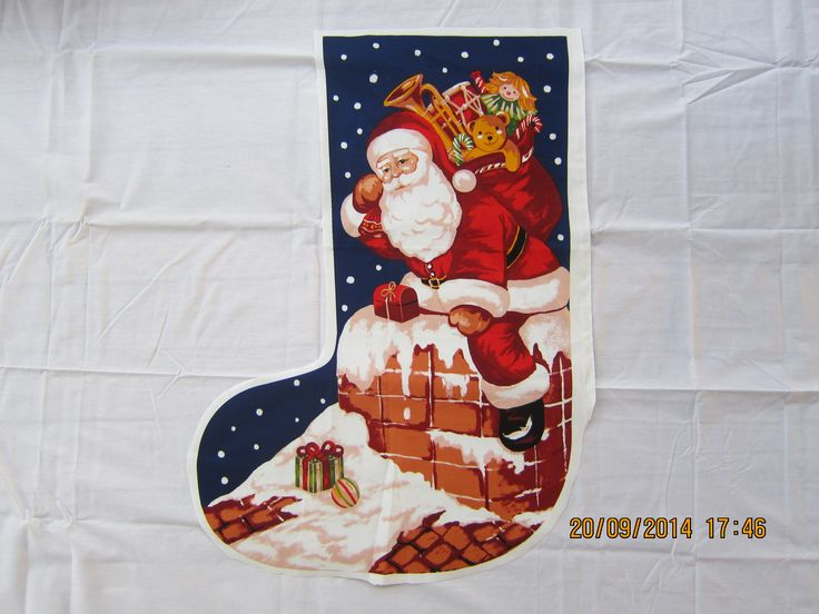 Large Saint Nick Chimney Stocking (H 70 cm x top W 31cm and bottom W 47cm) - $29.95 each + postage