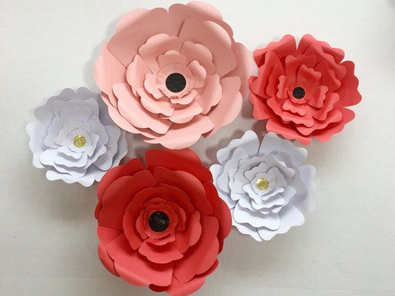 3 Sizes of Paper Wall Flowers by ProjectPaper on Etsy