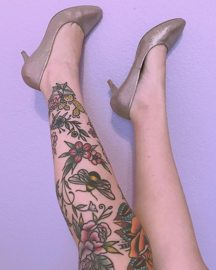 instagram: @Fever.Dream.Boutique Fever Dream Boutique girly feminine american traditional tattoos old school vintage bumble bee rose knee cactus flowe…