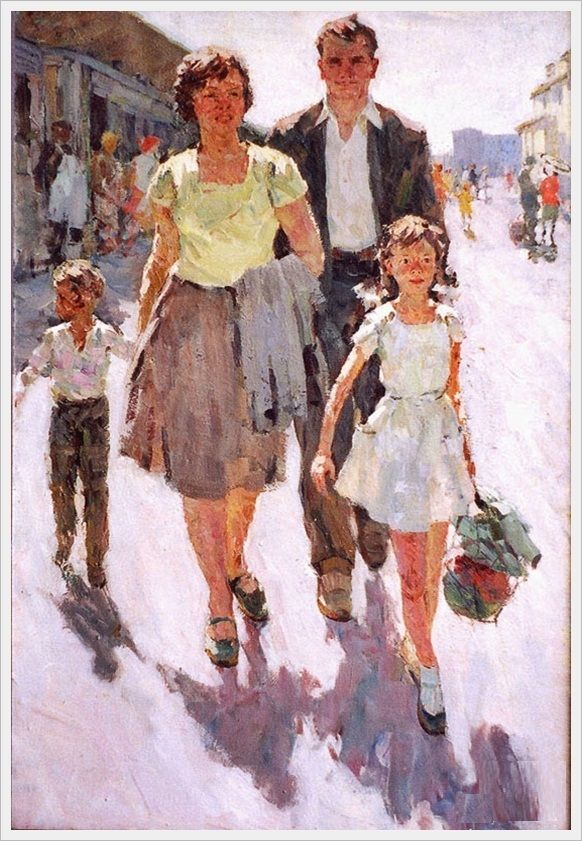 Роженков Анатолий Константинович (Россия, 1925 - 2003) «Семьёй на юг» 1960