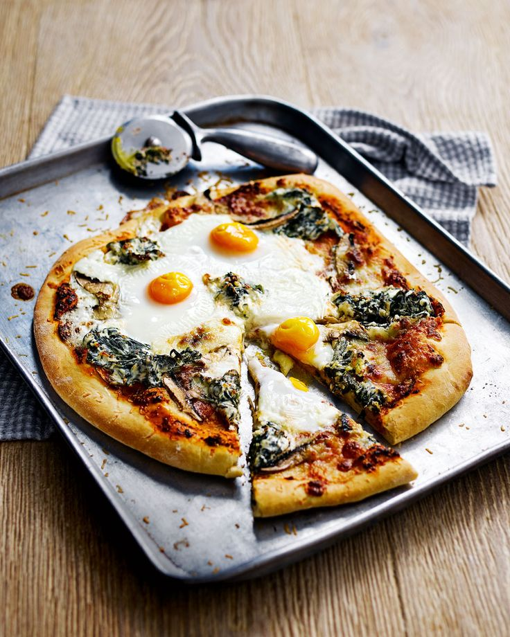 Our take on the Italian Fiorentina vegetarian pizza that's topped with mushrooms, ricotta, spinach and egg.