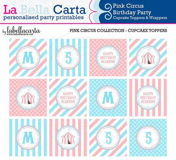 Pink Circus Cupcake Toppers & Wrappers, Circus Party, Printable Party, DIY Party, Circus Birthday, Party Decor