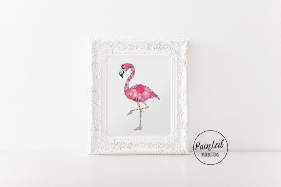 Button Art PRINT Pink Flamingo, Giclee Art Print, Pink Flamingo Art Print, Flamingo Home Decor, Holiday Gifts for Her, Best Gifts for Women