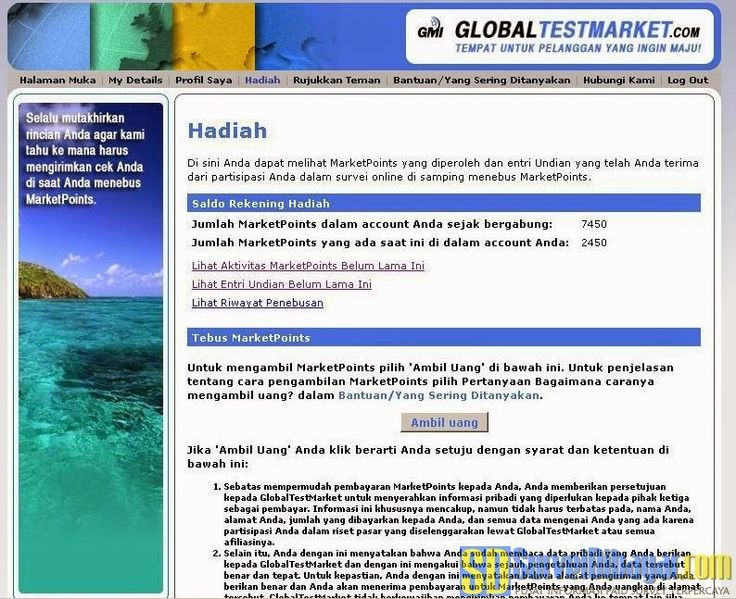 Cara menukar poin paid survey GlobalTestMarket | Survei Dibayar