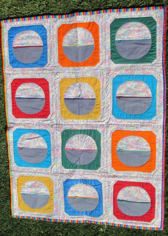Modern Child's Quilt with Storage Pockets by HandMadeQuiltsbyJane