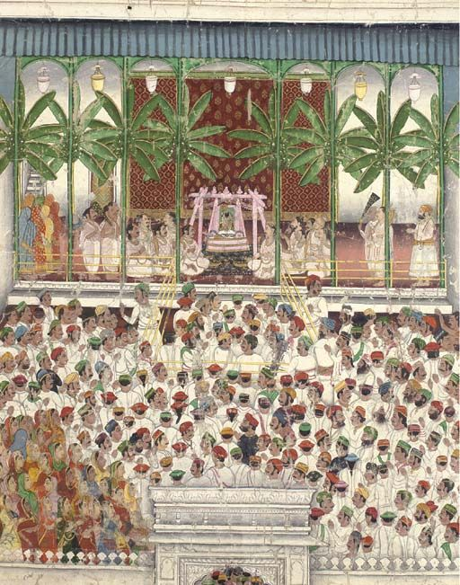 Shrinathji Temple, Nathdwara, Mewar, ca. 1880. Gouache heightened with gold on cloth. Worshipers gather around the shrine of Krishna flanked by village elders, standing attendants, men in white wearing brightly colored hats and women in saris.
