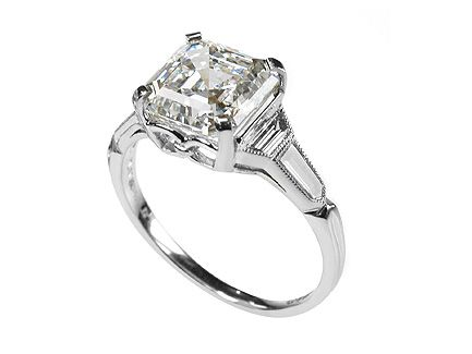 Platinum Cher Cut Diamond Engagement Ring With Trapeze And Bullet Shaped Shoulders Center Stone 3 19