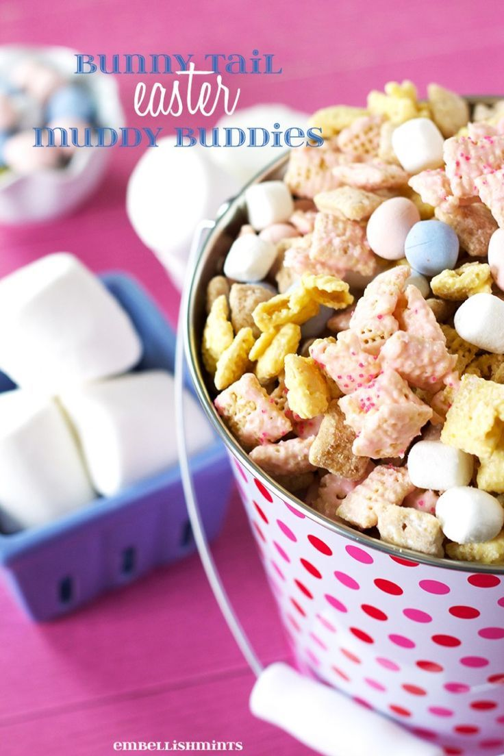 Bunny Tail Easter Muddy Buddies. Perfect for Easter and Spring, and works for any holiday by changing the type of candy, and chocolate coating the cereal.