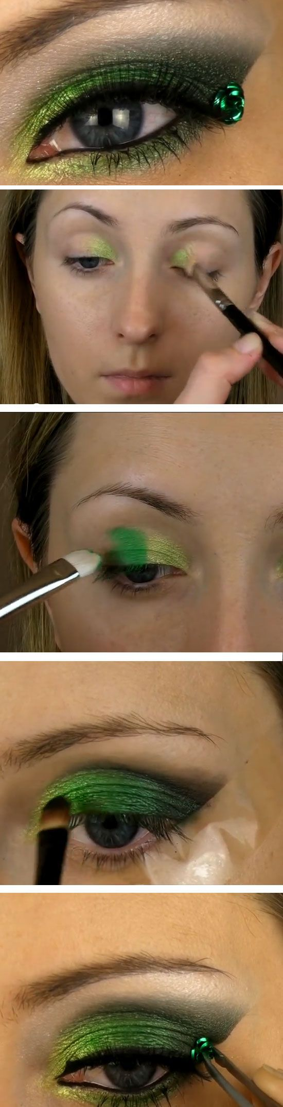 Jeweled Clover | Click Pic for 15 St Patricks Day Makeup Ideas | Step by Step Eye Makeup Tutorials for Beginners