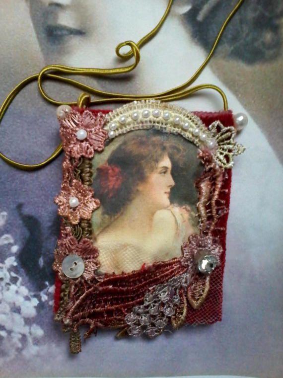 Vintage pouch necklace, pendant purse, memory keeper, keepsake, heirloom bag, amulet, vintage bag, gypsy purse, card holder, key holder