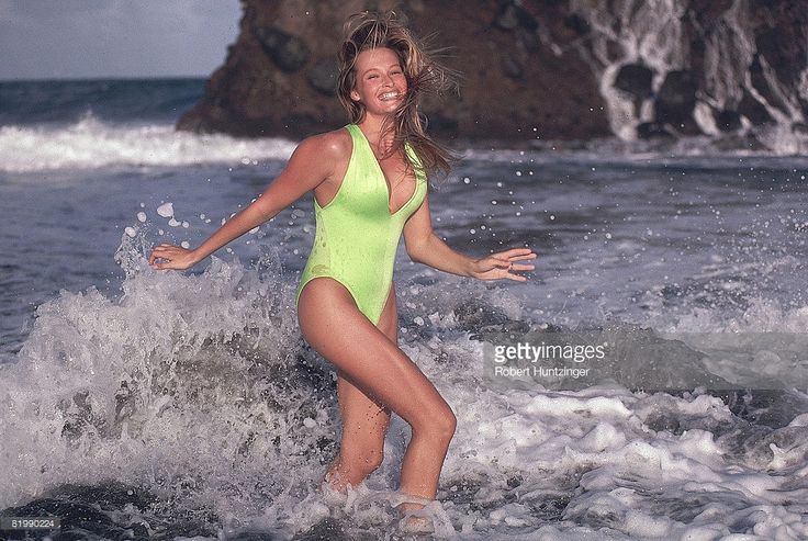 News Photo : Model Estelle Lefebure poses for the 1990 Sports...