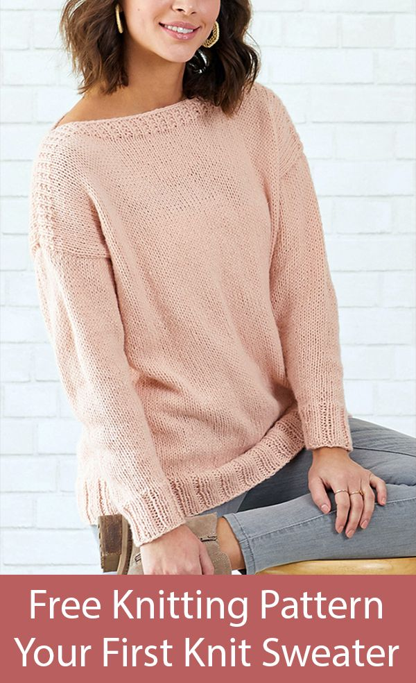 Free Knitting Pattern for Your First Knit Sweater | Easy