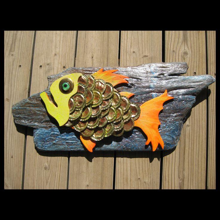 Driftwood and bottle top fish for Nik PGL 2015 #racheljenkinson #bottletops #driftwood