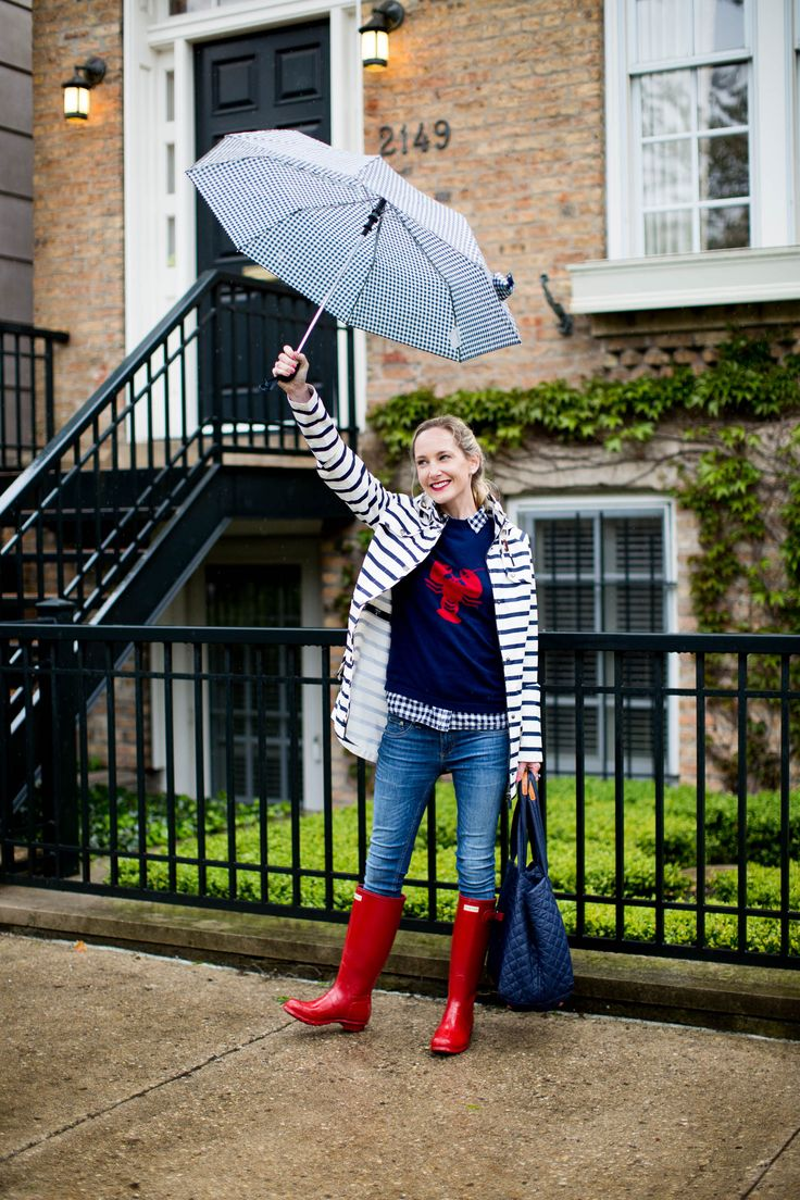 Navy striped rain coat and quilted navy bag