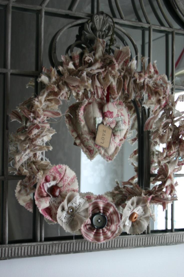 Shabby chic fabric scrap wreath