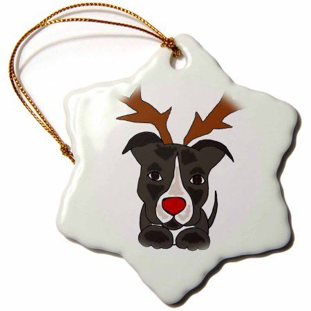3dRose Funny Pitbull Dog Dressed as Rudolph Red Nosed Reindeer, Snowflake Ornament, Porcelain, 3-inch