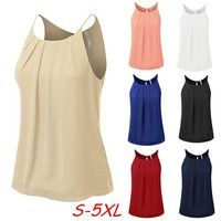 Wish | Women's Round Neck Front Pleated Chiffon Cami Tank Top Plus Size S-5XL WZD3014
