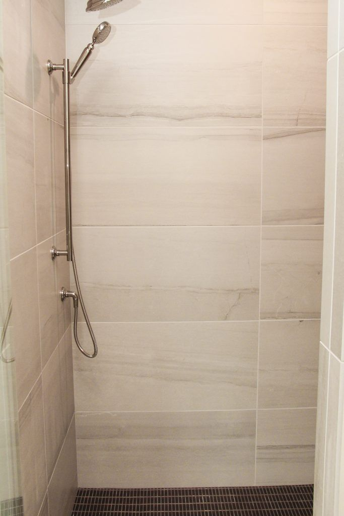 12x24 Wall Tile Grid Pattern In Walk In Shower Niche Large Shower Tile Shower Wall Tile Tile Walk In Shower
