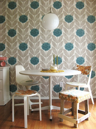 I am in love with the Orla Kiely flower blossom wallpaper. I have never been a fan of wallpaper but this is making me change my mind.