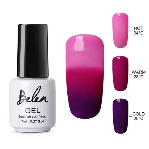 Belen 3 in 1 Thermal Color Changing Nail Art Polish Soak Off UV LED Gel Lacquer Gel Polish Chameleon Salon Soak Off Nail Art 7ml