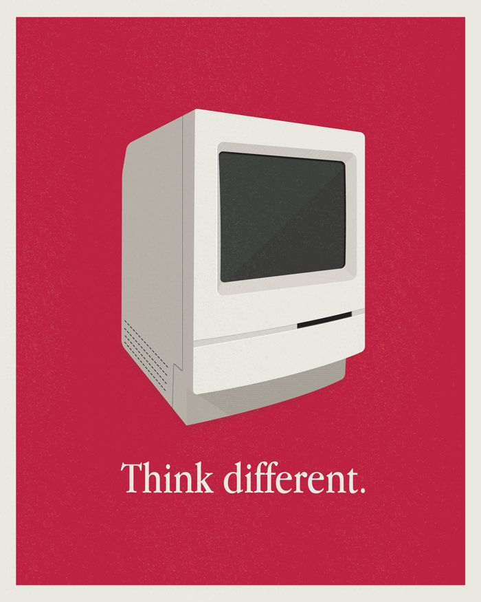 Macintosh Classic Print: Classic Prints, Classic Apples, Picture-Black Posters, Posters Design, Apples Ads, Apples Posters, Thinking Difference Apples, Retro Illustration, Creative Posters